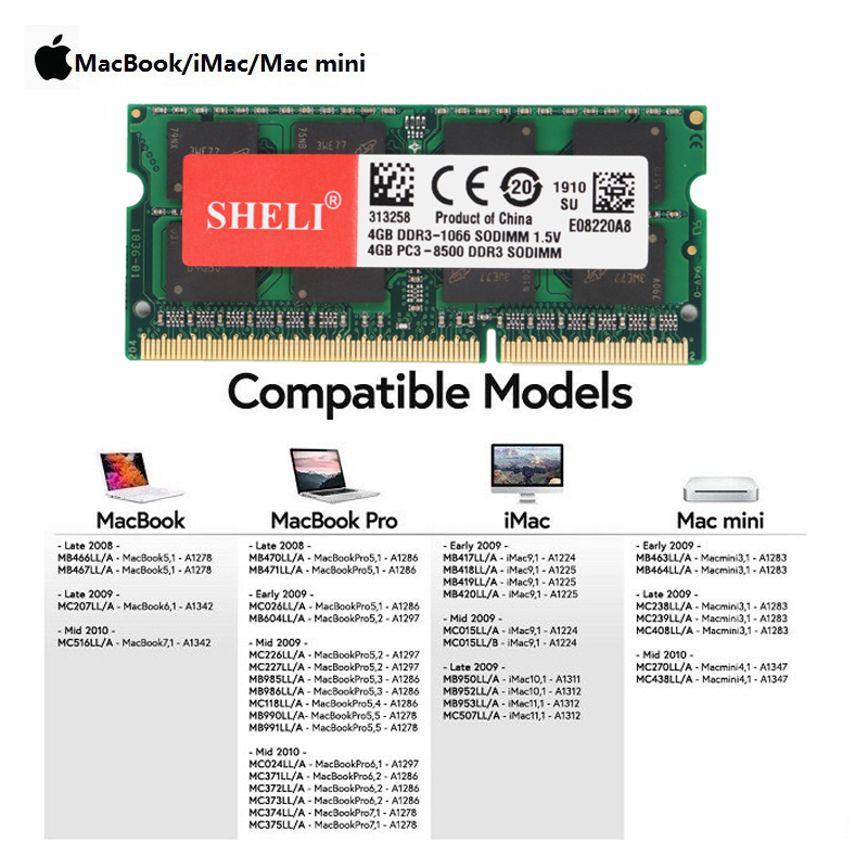 SHELI 4GB 8GB PC3L-8500s DDR3L 1066MHz Sodimm Unbuffered Laptop Memory RAM For MacBook Pro IMac