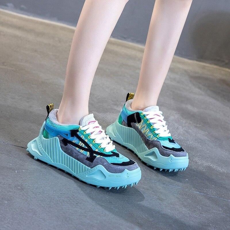 2019 hiver nouvelles femmes en cuir Pu doublure en peluche plate-forme baskets à lacets compensés bleu grosses baskets décontracté papa chaussures