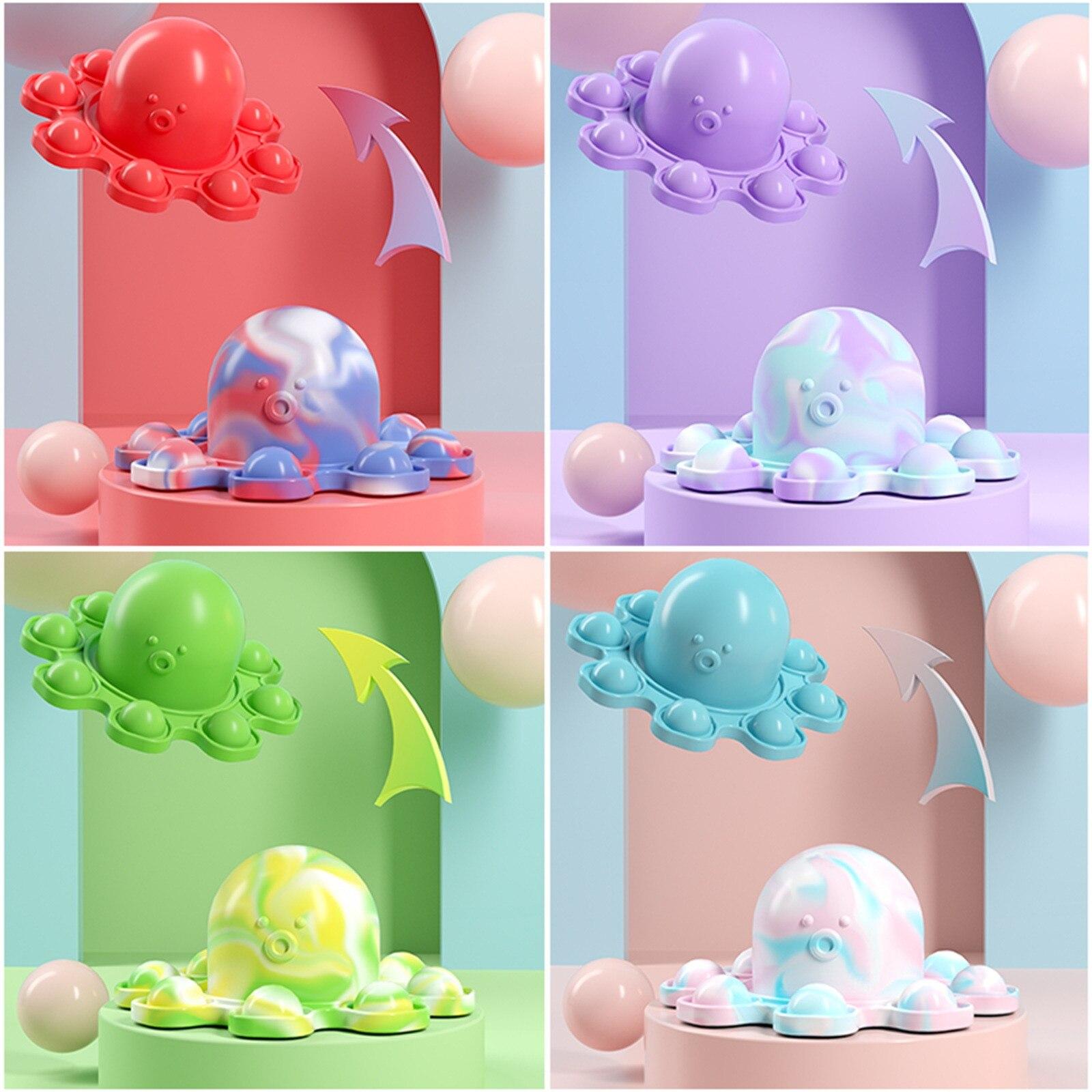 Силиконовые Реверсивный Осьминог игрушки Fidget вытолкнуть его пуш-ап пузырь поп ит простой улыбающегося аутизма сенсорные для Пижама для дет...
