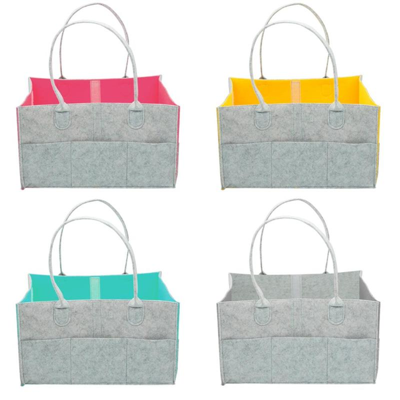 Portable Baby Diaper Caddy Organizer Holder Shower Basket Portable Nursery Storage Felt Nappy Bag Tote Basket Maternity Handbag