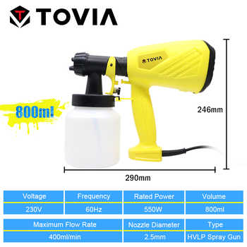 TOVIA 550W Spray Gun 800ML HVLP Electric Paint Sprayer 230V Flow Control Electric Spray Gun
