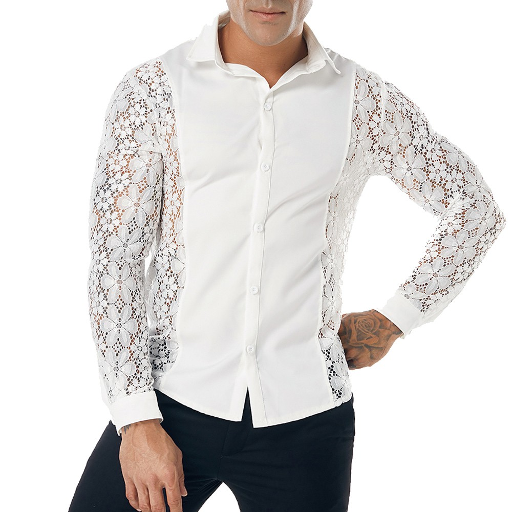 Casual Long Sleeve Men Shirt Solid Color Lace Hollow Shirts For Men Slim Stylish Party Fashion Mens Shirts 2019 Long Sleeve