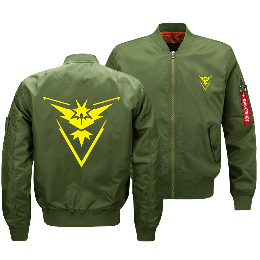 2019 Thicken Oversize Men's Military Bomber Coat Game Pokemon Team Valor Team Mystic Team Instinct Army Flying Jacket US SIZE