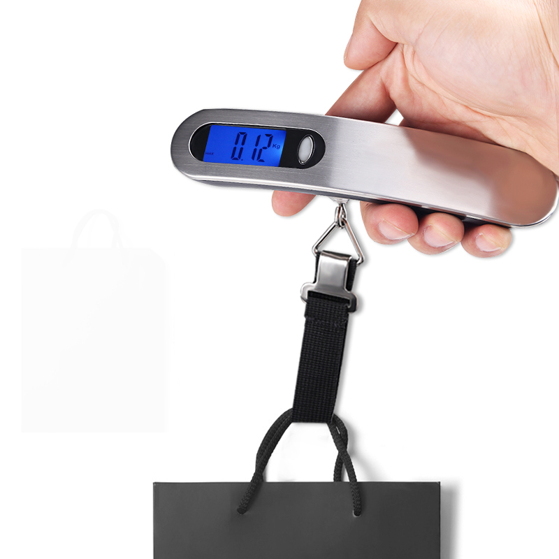 50kg/110lb Digital Electronic Luggage Scale Portable Suitcase Scale Handled Travel Bag Weighting Hook Hanging Scale image