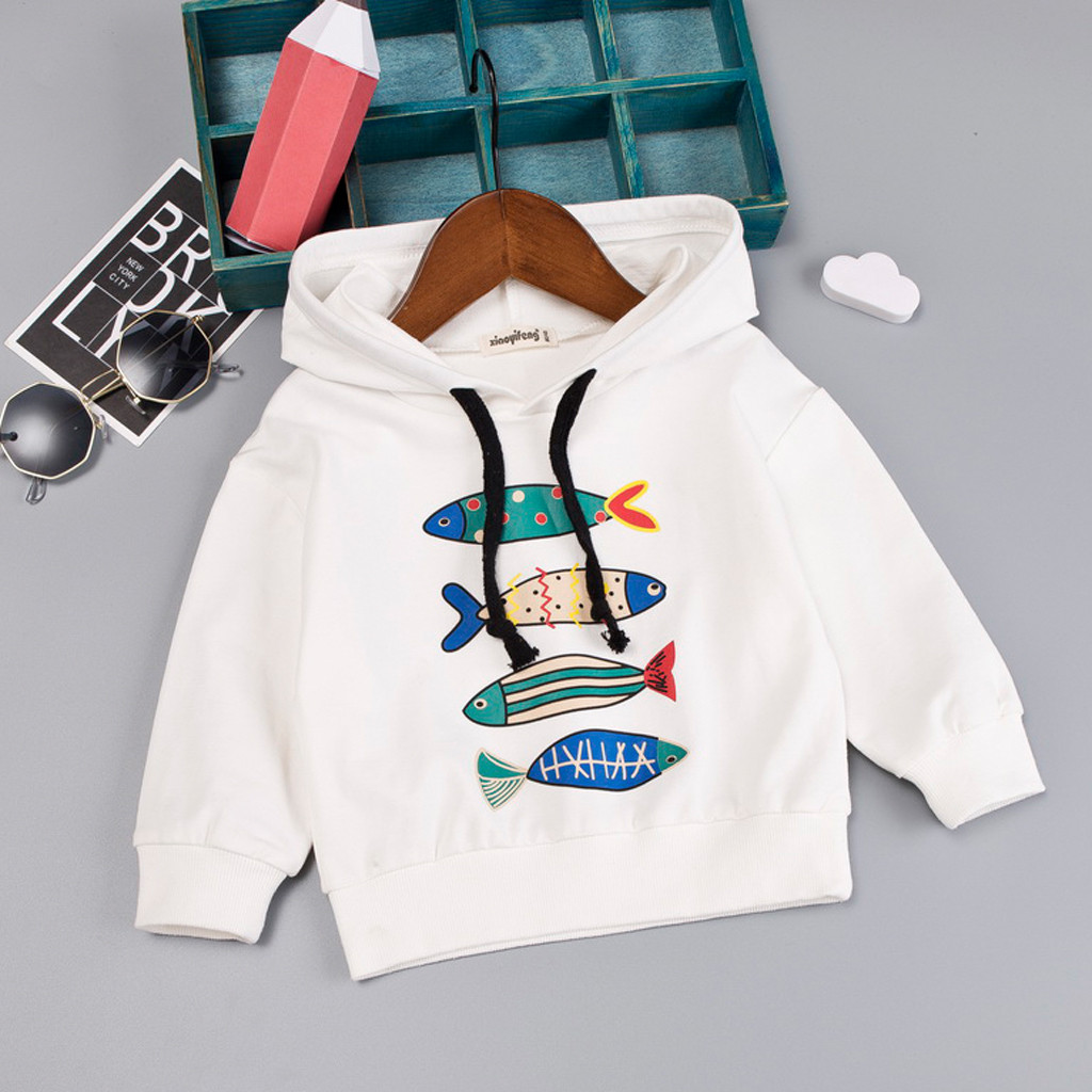 winter clothes Toddler Baby hoodie Kids Boys Character Fish Hooded Pullover T-shirt Tops fall 2019 hoody roupas infantil menino