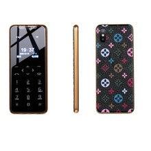 Ультратонкий металлический каркас, кожаная Задняя Крышка, маленький мобильный телефон, Bluetooth, набор номера, две sim-карты, детский телефон, сенсорный ключ, вибрация