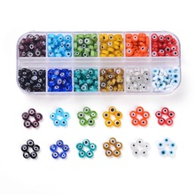 1Box Mixed Color Handmade Round Evil Eye Lampwork Beads for Jewelry Making DIY 6mm 8mm 10mm Hole: 1mm