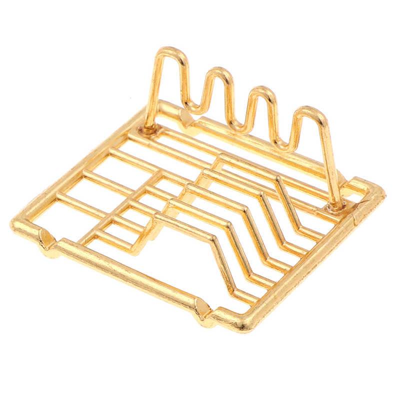 1Pc 1:12 Poppenhuis Miniatuur Schotel Planken Keuken Speelgoed Voor Familie Collectible Sliver Goud