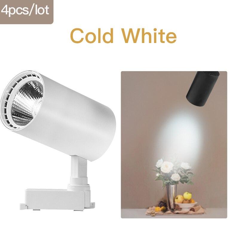 COB светодиодный Трековый светильник 220V 12/20 Вт, 30 Вт, 40 Вт регулируемый Точечный светильник Алюминий потолочный рельсы для Кухня магазин - Испускаемый цвет: White-Cold White