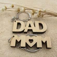 Chaveiro de madeira com porta-chaves, presentes para pai, mãe e mãe, anel de madeira