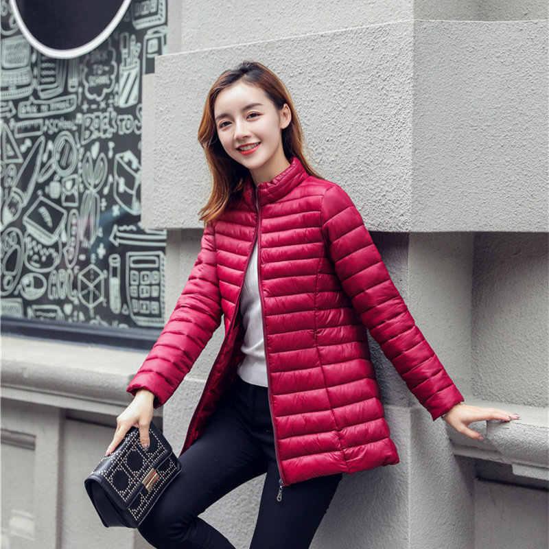 Solide Warme Unten Mantel Frauen Winter Casual Plus Größe Dünne Lange Sleeve Zipper Unten Jacken Büro Dame Mode Elegante Außen mantel
