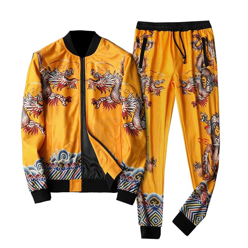Luxury Gold Dragon Fall Tracksuit Men Conjunto Deportivo Hombre Ensemble Homme Designer Fancy Fashion Menswear (jacket+pant) 5xl