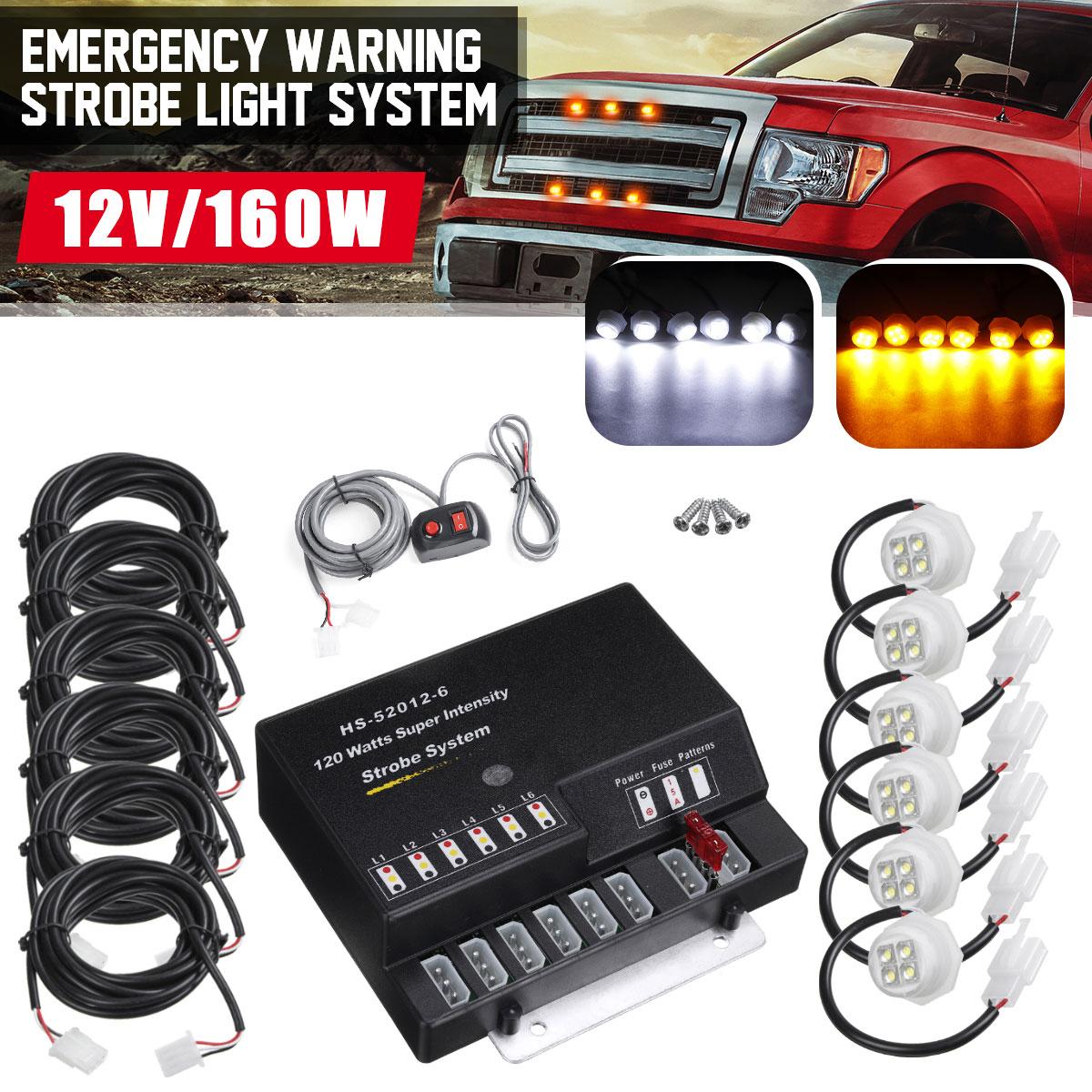 Voiture cacher loin avertissement de danger d'urgence Flash stroboscopes Kit de système de lumière 6 pièces ampoule LED Kit de phare 12V 120W