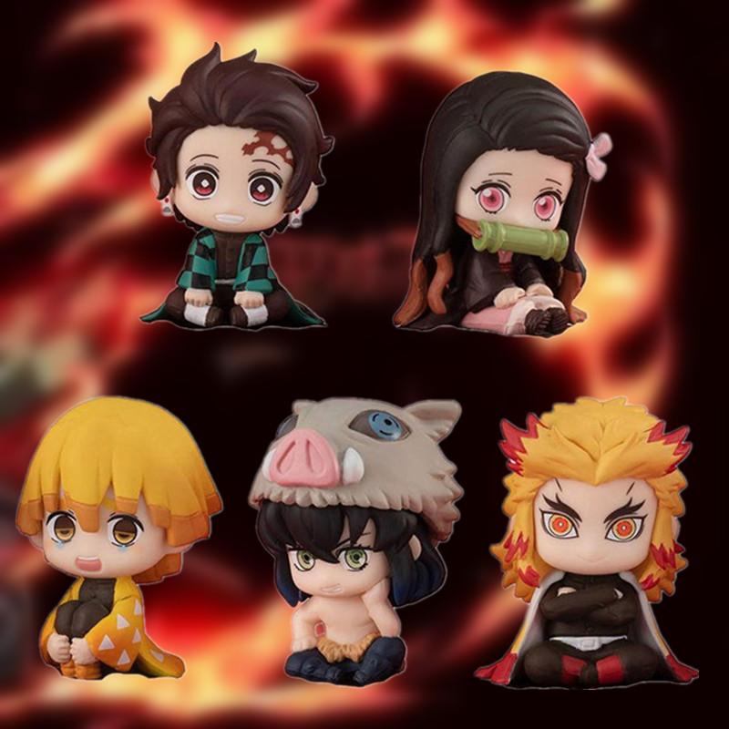 5pcs/lot Anime Demon Slayer:Kimetsu No Yaiba Kamado Cute PVC Action Figure Toys