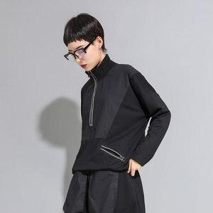 Image 3 - XITAO خليط ضرب اللون الأسود T قميص المرأة أزياء الملابس 2019 موقف طوق كامل كم المحملة أعلى جيب الخريف جديد GCC1431