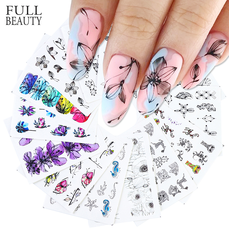 14pcs Black Nail Stickers Slider Flower Lotus Butterfly DIY Floral Designs Water Tattoo For Wraps Decals Manicure Set STZ880-902