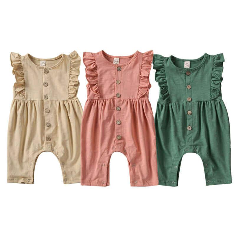Однотонные комбинезоны с оборками для маленьких девочек без рукавов