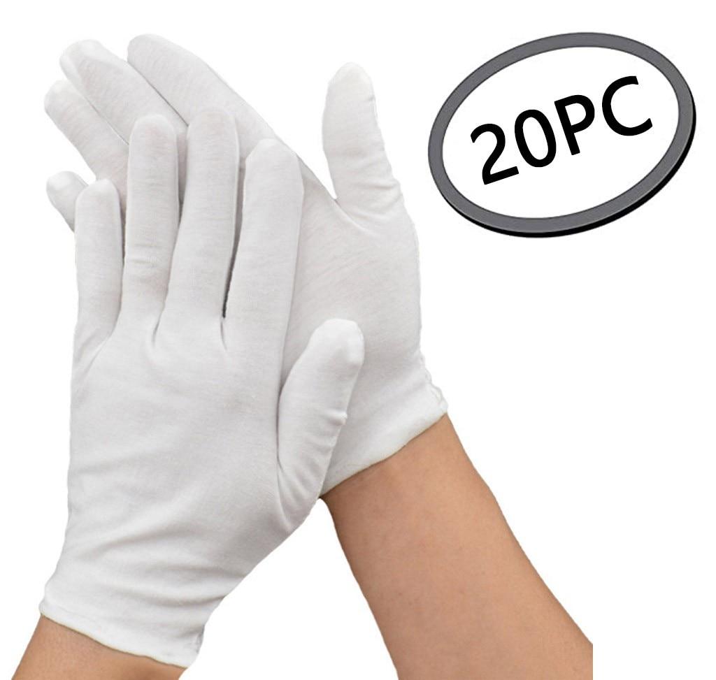20 шт., белые хлопковые дышащие эластичные перчатки средней толщины