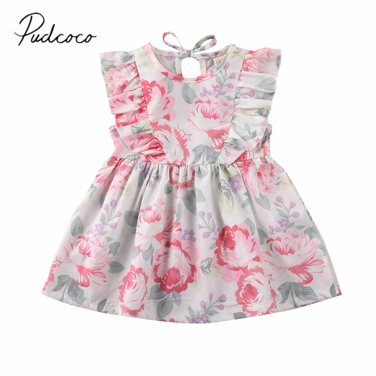 2020 Baby Summer Clothing Toddler Kid Baby Girl Clothes Ruffle Sleeve Dress Holiday Flower Dress