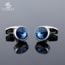 TOMYE  blue crystal suit shirt cufflinks sliver gift men XK19S092