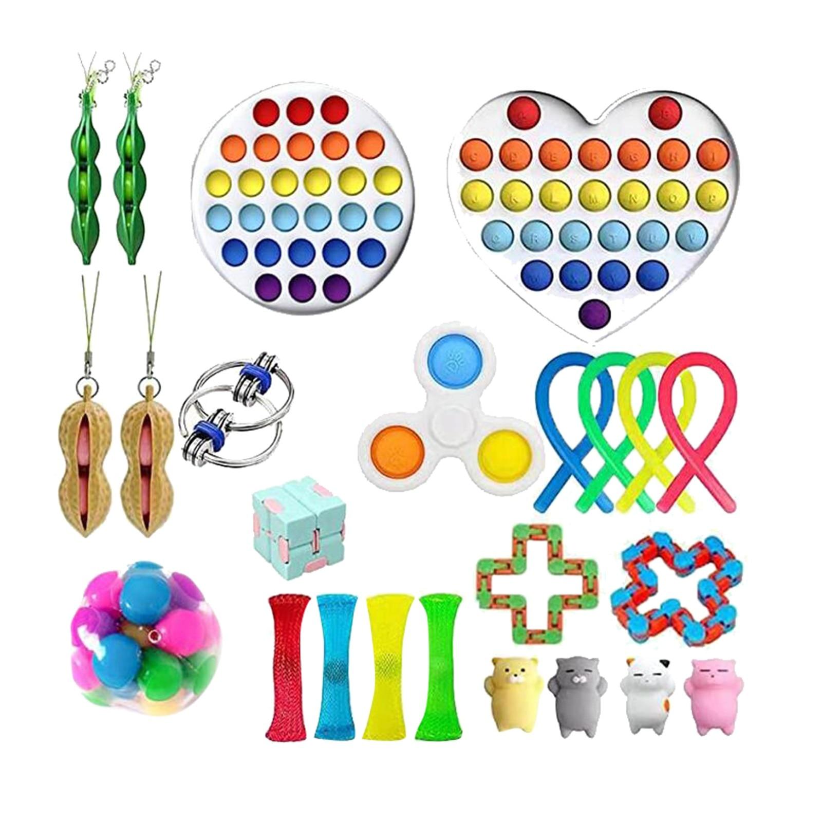 Heißer Zappeln Spielzeug Anti Stress Set Stretchy Saiten Push Geschenk Pack Erwachsene Kinder Squishy Sensorischen Antistress Relief Figet Spielzeug