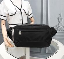 Unisex black nylon waist bag sports fitness running multifunctional waterproof portable fashion casual change backpack