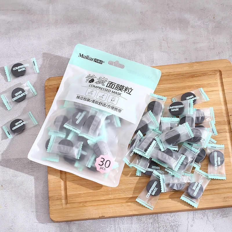 Gorąca sprzedaż 30 sztuk/worek czarny DIY maska wybielająca arkusz skompresowana maska papierowa pielęgnacja twarzy węgiel bambusowy naturalny papier maskowy