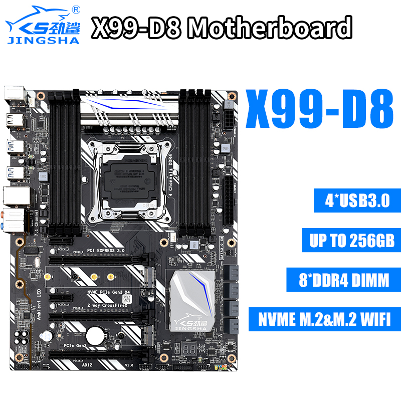 Jingsha Gaming MotherBoard X99 D8 NVME M.2 Wifi Slot LGA2011-3 USB3.0 SSD Support 8* DDR4 and Xeon E5 V3 Processor image