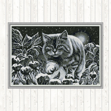 Black Cat on Snowy Night Painting DMC Counted Cross Stitch Embroidery Kit for Needlework 14ct Gifts Print Canvas DIY Handmade