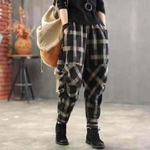 Primavera verão artes estilo feminino cintura elástica harem calças vintage algodão linho xadrez calças soltas calças femininas plus size d414