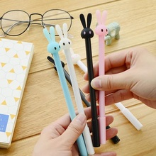 FREE SHIPPING48pcs/lot Lovely Cartoon Rabbit Long Eared Straight Rod Have Solid Color Office Material School Supplies Gel Pen