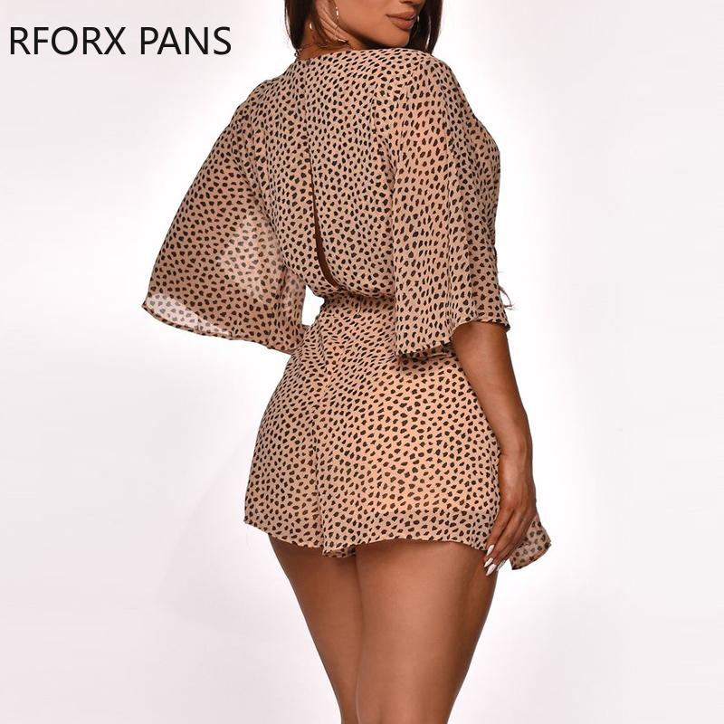 Women Summer Pot Long Sleeve Leopard V Neck Romper Romper Casual Romper Playsuits