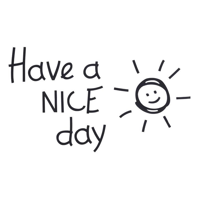 Wall Stickers Have A Nice Day Letters Lovely Sun Pattern Sticker ...