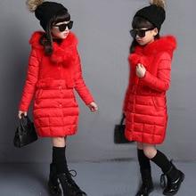 цены 2019 Winter Down Jacket For Girls Warm Long Fur Parka For Girls Winter Jacket Outerwear Coat Children Snowsuit Children's