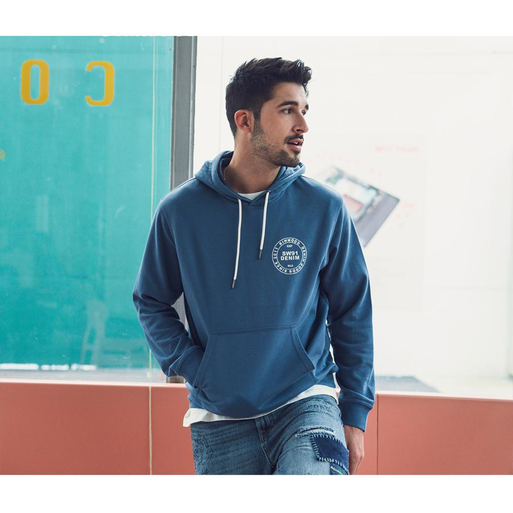 SIMWOOD 2020 Spring New Hoodies Men Fashion Logo Print Sweatshirts Plus Size Letter Hooded Joggers Tracksuits SJ120334