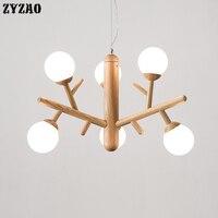 Nordic feijão mágico lustres sala de estar quarto cabeceira hanglamp ramo madeira molécula simples luminárias lustre e27