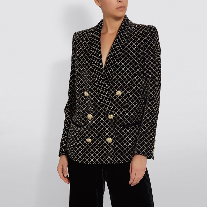 HIGH QUALITY 2020 Baroques Designer Blazer Jacket Women's Double Breasted Lion Buttons Shimmer Plaid Shawl Collar Velvet Blazer
