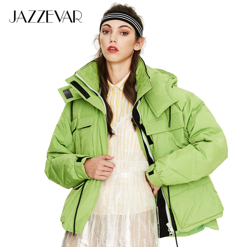 JAZZEVAR 2019 Winter New Arrival Women Down Jacket High Quality Green Color Winter Coat With A Hood Fashion Coat Women Y9030