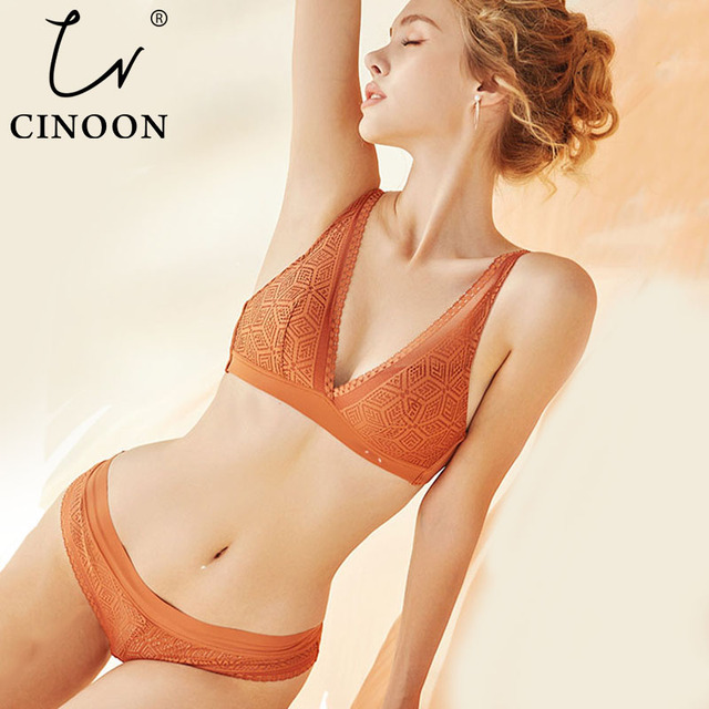 CINOON New Push Up Bra Set Deep V Brassiere Lace Underwear Panties Thin breathable bra set Jacquard Sexy Underwear Free Shipping 1