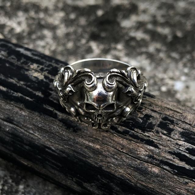 Vine Skull Biker Rings Gothic Silver Stainless Steel Ring Men and Women Punk Rock Jewelry