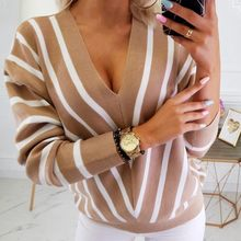Loose Knitted Sweater Women Jumpers Long Sleeve V Neck Pullovers Sweaters Casual 2020 Autumn Winter Color Block Striped Sweater(China)