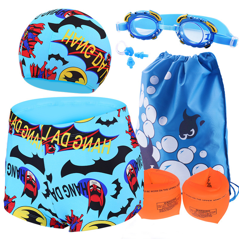 CHILDREN'S Swimming Trunks + Goggles + Swim Cap Five-Piece BOY'S Boxer Swimming Trunks Kids Baby Swimming Suit Men's Large