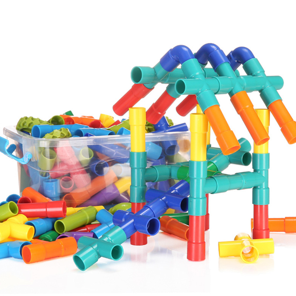 Creative Pipeline Tunnel Blocks 3D Construction Toys Baby Plastic DIY Assembling Water Pipe Building Blocks For Children Gifts