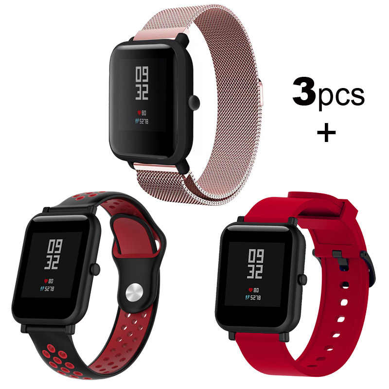 For Xiaomi Huami Amazfit Bip Strap Bracelet Milanese Stainless Steel Metal Watchband 20mm Silicone Watchstrap