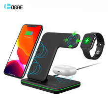 3 in 1 15W Fast Qi Wireless Charger Stand for iPhone 11 XS XR X 8 SE2 Samsung S20 For Apple Watch 5 4 3 Airpods Pro Galaxy Dock