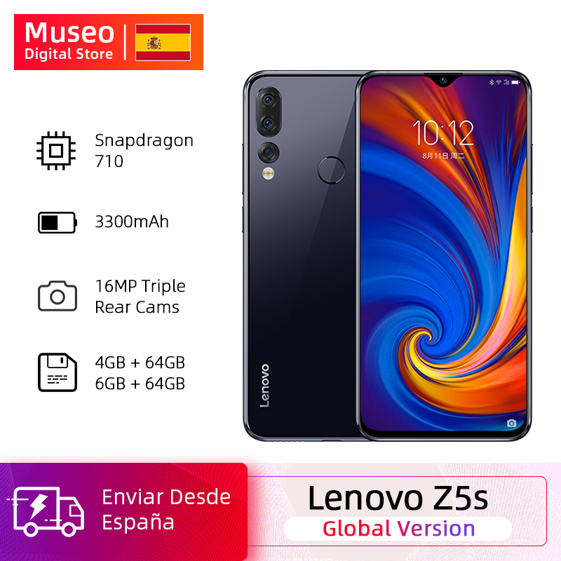 Global Version Lenovo Z5s Snapdragon 710 Octa Core 64GB SmartPhone Face ID 6.3 AI Threefold Back Camera Android P Cell