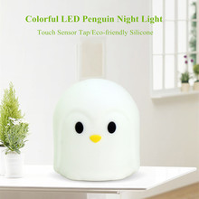 Touch Sensor Colorful Penguin LED Night Light USB Rechargeable Silicone Animal Lamp Bedroom Bedside Lamp for Children Baby Gift touch sensor colorful led cat night light silicone animal table lamp usb rechargeable bedroom bedside lamp for children baby