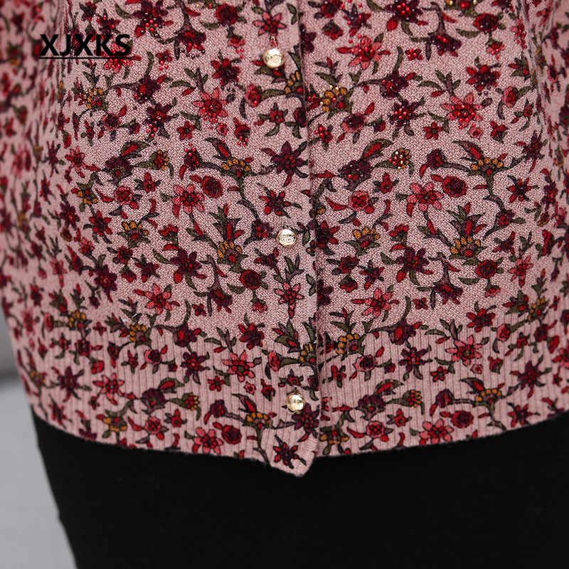 XJXKS High-end พิมพ์ผู้หญิงเสื้อสเวตเตอร์ถักเสื้อกันหนาว 2019 ฤดูใบไม้ร่วงฤดูหนาวใหม่ plus ขนาดผู้หญิงแคชเมียร์ถักเสื้อกันหนาว cardigan coat