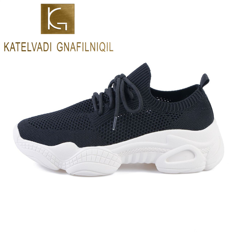KATELVADI Black Sneakers Women 2020 Breathable Summer Platform Dad Shoes Plush Size 43 Women Lace-Up Mesh Casual Shoes CH005