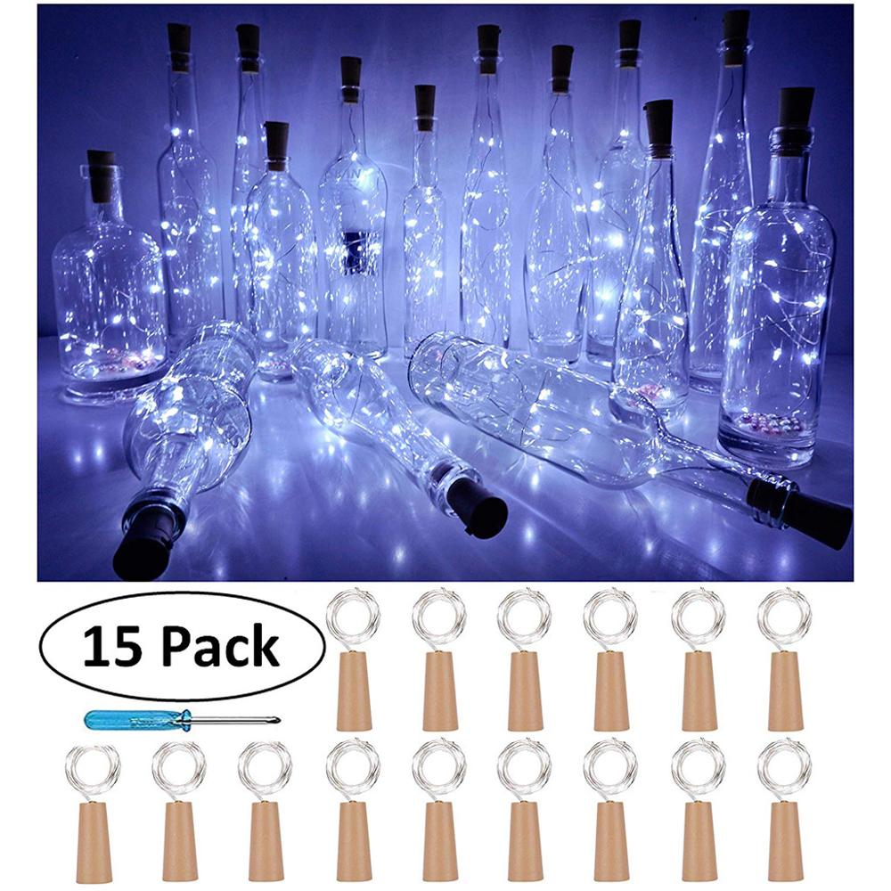 Bottle String Lights 15PCS Bottle Lights Cork Shape For 1M 10 LED Wine Bottle String Party Romantic Home Decor LED Lights @Q